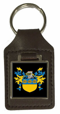 Mcginn Family Crest Surname Coat Of Arms Brown Leather Keyring Engraved