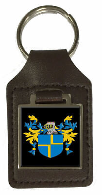 Tily Family Crest Surname Coat Of Arms Brown Leather Keyring Engraved