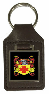 Masterson Family Crest Surname Coat Of Arms Brown Leather Keyring Engraved