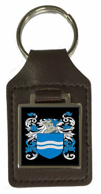 Houstoun Family Crest Surname Coat Of Arms Brown Leather Keyring Engraved