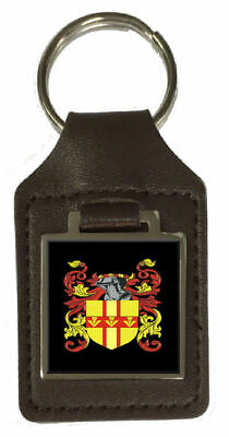 Mcallister Family Crest Surname Coat Of Arms Brown Leather Keyring Engraved