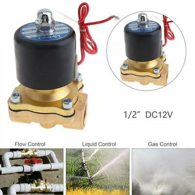1/2'' DC 2-Way Brass Electric Solenoid Valve Air Water Fuel Gas Normal Close 12V