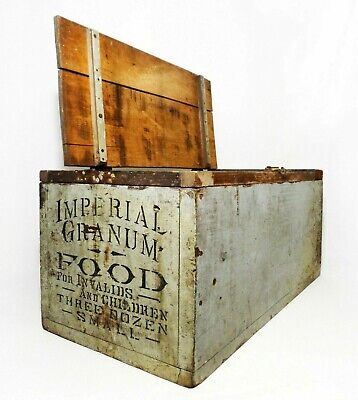 Antique Imperial Granum Food Hinged/Lidded Wooden Box, Made Into Upright Cabinet
