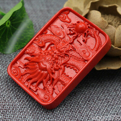 Delicate Fashion Red Cinnabar Handwork Carved Dragon 64x46x12mm Amulet Pendant