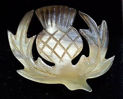 Scottish carved stag horn vintage Victorian antique thistle brooch