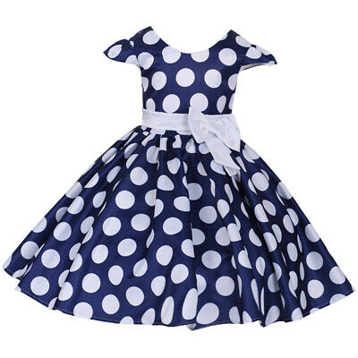 Girls Child Pageant Dot Princess Dress Wedding Party Baby Toddler Piano Costumes