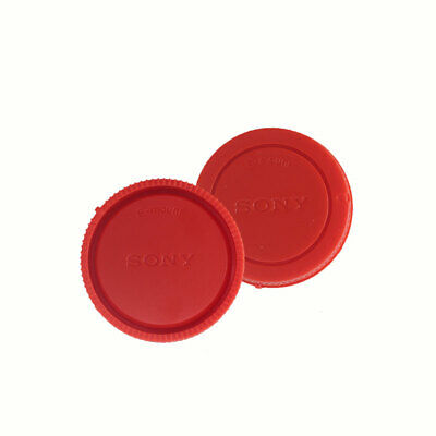 Red Rear Lens Cap + Camera Front Body Cover for Sony E-Mount NEX