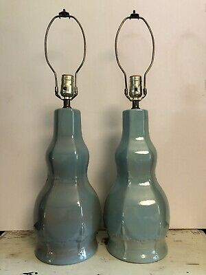 Pair Vtg Mid Century 50s Kron Table Lamps Blue Turquoise Signed Ceramic Pottery