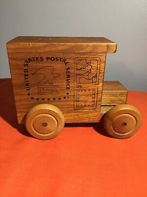 Toystalgia Wood Musical USPS Mail Truck Coin Bank US Postal Service