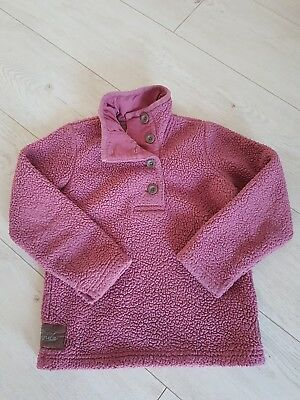 Joules Beautiful Girls Super Warm Fleece Jumper Sweatshirt in Pink Age 7 Fab!