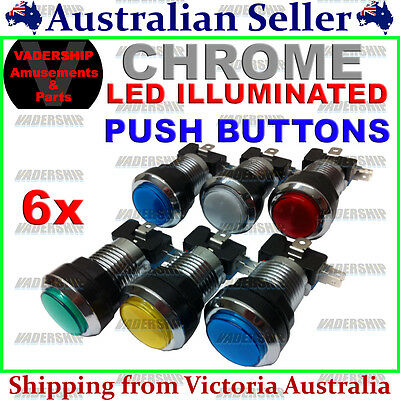 New: 6x Chrome - LED - ILLUMINATED Push BUTTONS, Locknut & Switch - Arcade/Mame