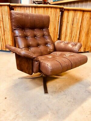 VINTAGE RETRO DANISH COCO LEATHER EBBE GEHL SWIVEL CHAIR SET 1960,s
