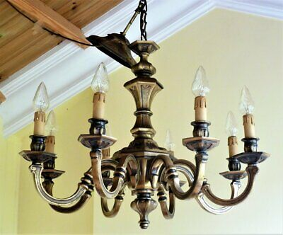 Large Antique Vintage Brass Chandelier 8 arm French Rococo Baroque ceiling light