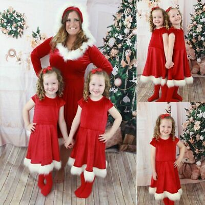 Family Outfits Christmas Mother Daughter Dress Santa Long Sleeve Xmas Matching