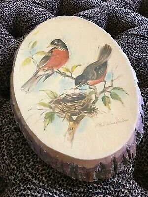 Bird Art Paul Whitney Hunter Artist Painting on Live Edge Wood Hg10