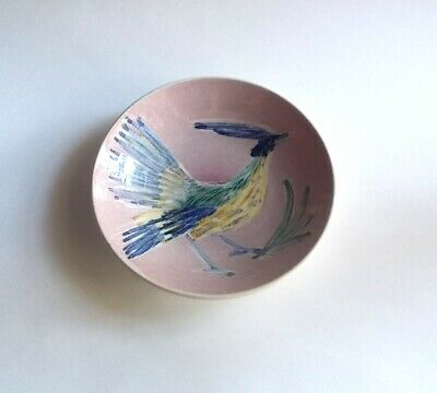 Vintage 1990s Pottery / Ceramic Bowl-Hand Painted Blue Roadrunner-Signed Jo low