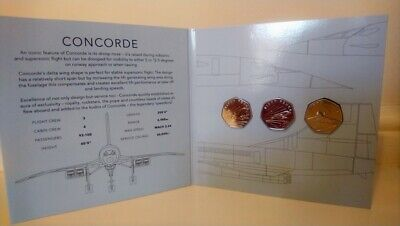 2019 Guernsey 50th Anniversary Of The Concorde 50p Coin Set BUNC