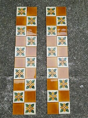 Set Of 10 Stunning Art Nouveau Tubelined Majolica Fireplace Tiles (Orange White)