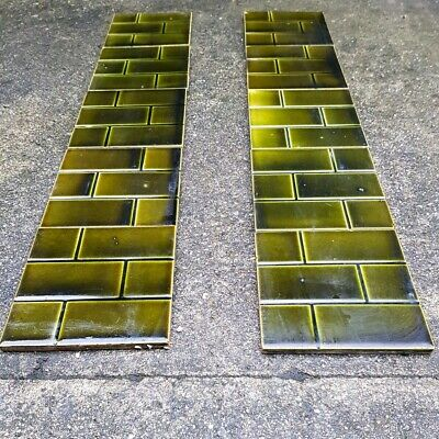 Stunning Original Edwardian Fireplace Tiles - Green Brick - VERY RARE
