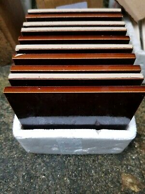 Set Of 10 Stunning Art Nouveau Tubelined Majolica Fireplace Tiles (Plain Brown)