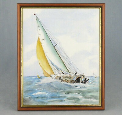 """Original Hand Painted Ceramic Tile Painting Sailing Yacht Framed 10.5"""" X 8.5"""""""