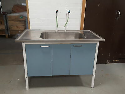 Lab Stainless Steel Sink Table Dual Tap Hot Cold