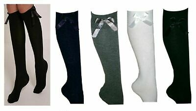 3 PAIRS GIRLS Kids FASHION COTTON KNEE HIGH SCHOOL SOCKS WITH BOW IN ALL SIZE