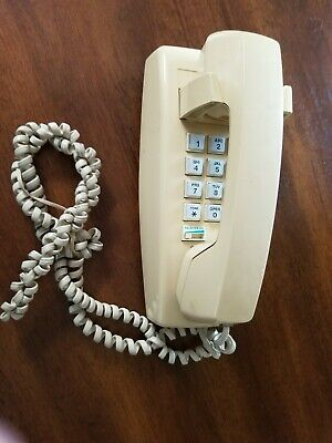 Vintage AT&T 110 Beige Telephone-Wall Hanging-Push Button-Ringer/Receiver Volume