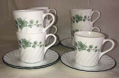 """7 Corelle Corning * CALLAWAY* IVY *3 1/4"""" CUPS & SAUCERS*"""