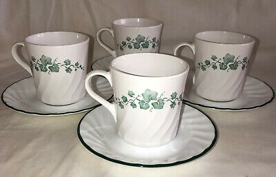 """4 Corelle Corning * CALLAWAY* IVY *3 1/2"""" CUPS & SAUCERS*"""
