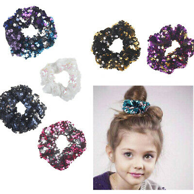 Hair Band Holder Ponytail Colours Ties Elastic Women Sequins Mermaid Girls 12x