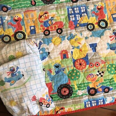 Sesame Street Baby Bedding Set: Crib Toddler Sheets Flat Fitted Quilt Blanket