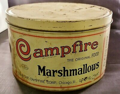 "Campfire Marshmallows Vintage 5lb. Tin Can--""Chicago, Ill. and Cambridge, Mass"""