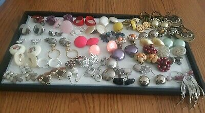 45 Pairs of Earrings Clip On & Pierced Bead Rhinestone & More