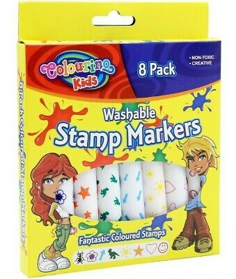 8pk Washable Stamp Markers Non-Toxic Fantastic Coloured Stamps Marker Pen Kids