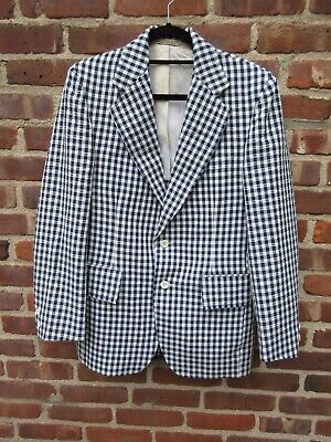 vintage mens navy gingham seersucker jacket blazer Redwood Ross 39 Reg