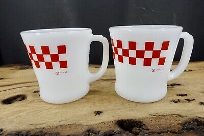 Lot Of 2 Vintage Fire King Ralston Purina Co. D Handle Advertising Coffee Mugs
