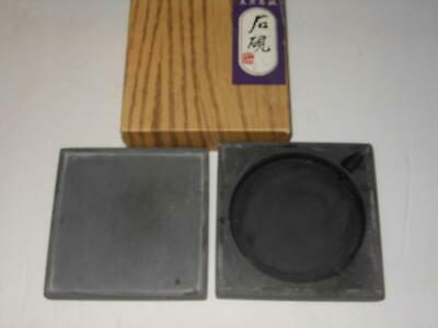 Rare Beautiful Antique Japanese Square Caligraph Ink Stone In Box