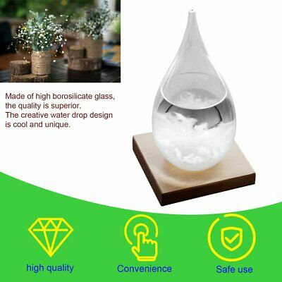 Clear Storm Glass Bottle Weather Forecast Monitor Barometer With Wooden Base WD