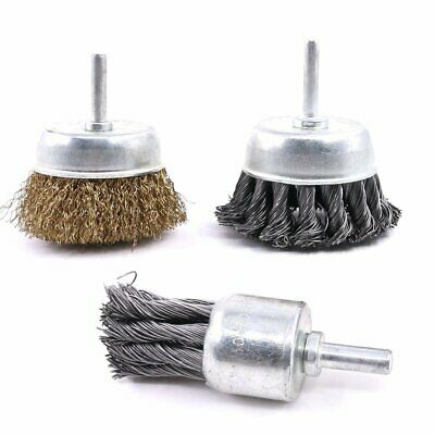 Glarks 3 Pack Knotted  Crimped Cup Steel Wire Wheels Brush  Carbon Knot Wire E