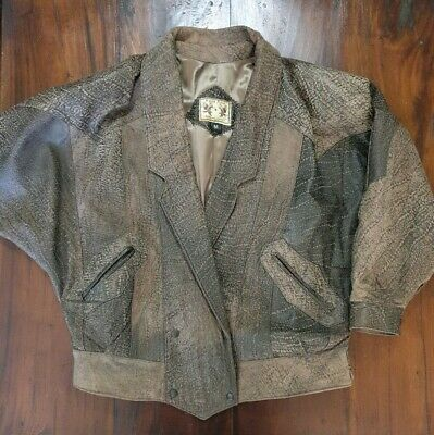 Vintage Soft Leather Coat Jacket Agua Azul Brown Size M Made in Mexico (A14)