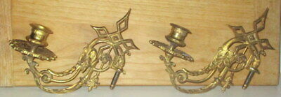 Pair Antique Brass Wall Mount Single Candle Holder Sconces