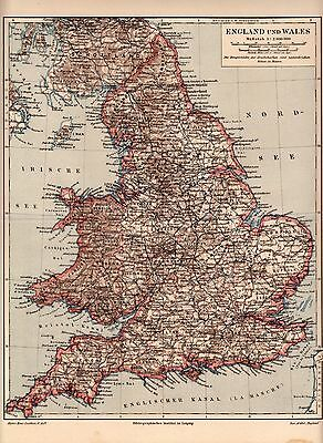 1894 Antique Original Lithograph Plate Meyers MAP GREAT BRITAIN WALES ENGLAND