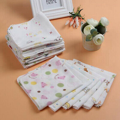 20Pcs Baby Newborn Gauze Muslin Square 100% Cotton Bath Wash Handkerchief Soft