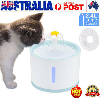 LED USB Automatic Electric Pet Water Fountain Cat/Dog Drinking Dispenser 2.4L