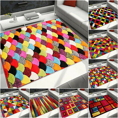 Small Large Extra Large Multi Coloured Geometric Hand Carved Rugs Runner Carpet