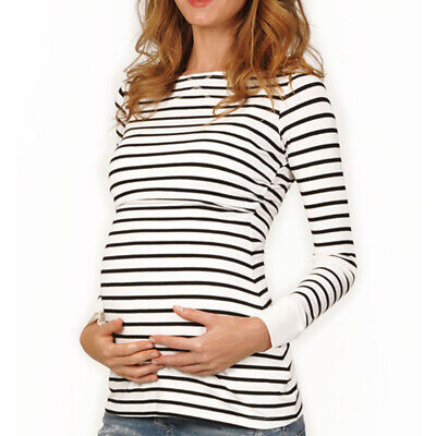 Cotton Tops Blouse T-Shirt Soft Long Mom Pregnant Women Maternity Breastfeeding