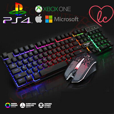 Gaming Keyboard AND Mouse Set Rainbow LED Wired USB For PC PS4 Xbox One