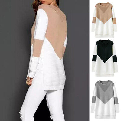 Women Fashion Casual Cotton Knitted Side Split Block Pullover Sweaters Tops