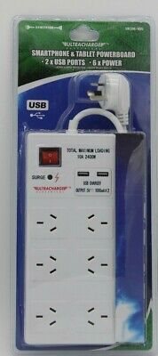 USB Charger Power Board With USB Charger 6 Way Outlets Charger Surge Protector